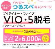 エピレ VIO・5脱毛2回プラン 料金