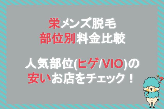 栄メンズ脱毛部位別料金比較人気部位(ヒゲ/VIO)の安いお店をチェック